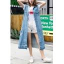 Blue Single Breasted Chest Pockets Long Denim Frayed Vest for Women