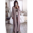 Plain Loose Python-Effect Printed Long Sleeve Long Open Front Coat
