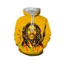 Popular Singer 3D Printed Long Sleeve Drawstring Hooded Unisex Yellow Casual Loose Hoodie