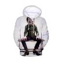 Cool Comic Joker 3D Printed Long Sleeve White Loose Fit Unisex Drawstring Pullover Hoodie