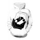 New Stylish Black and White Handshake Long Sleeve Loose Fit Unisex Drawstring Pullover Hoodie