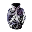 One Piece Cool Comic Character 3D Printed Long Sleeve Purple Loose Pullover Hoodie