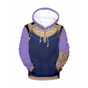 Popular Comic Cosplay Costume Purple Drawstring Hooded Long Sleeve Pullover Hoodie