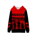 Red Dead Redemption Letter Figure Gun Printed Long Sleeve Red Pullover Hoodie