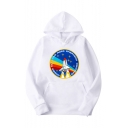 Hot Trendy Rocket Rainbow Graphic Printed Long Sleeve Casual Sports Pullover Hoodie
