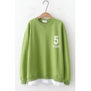 Fake Two-Piece Long Sleeve 5 KOER Letter Printed Round Neck Long Sleeves Pullover Sweatshirt