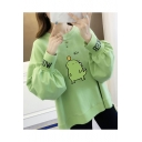 Hi Letter Cartoon Dinosaur Printed Round Neck High Low Long Sleeve Loose Pullover Sweatshirt