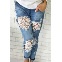 New Stylish Mid Waist Distressed Lace-Trimmed Ankle-Cuff Pockets Ankle Grazer Jeans