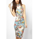 Womens Summer Vintage Round Neck Sleeveless Floral Print Sheath Midi Dress