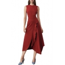 Womens Summer Round Neck Sleeveless Ruffles Plain Asymmetrical A-Line Maxi Dress