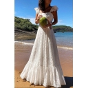 Womens New Fashion Square Neck Sleeveless White Guipure Ruffles Boho A-Line Maxi Dress