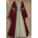 Womens Vintage Gothic Square Neck Bell Long Sleeve Lace-Up Front Maxi Floor Length Fit and Flared Dress