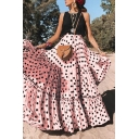 Womens Summer Casual Round Neck Sleeveless Polka Dot Panelled Ruffles Loose Lace A-Line Maxi Dress