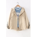Girls Simple Stripe Long Sleeve Hooded Zip Up Casual Loose Jacket Coat