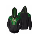 New Trendy Green and Black Comic Cosplay Costume Zip Front Fitted Hoodie