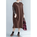 Womens New Trend Basic Simple Coffee Color Round Neck Sleeveless Casual Loose Maxi Shift Tank Dress