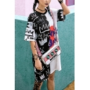 Womens Fashion Round Neck Short Sleeve Black And White Graffiti Print Letter Loose Shift T-Shirt Midi Dress