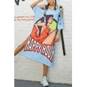 Womens Sexy Round Neck Short Sleeve Letter Hollow Ribbons Slit Character Print Loose Midi Shift T-Shirt Dress