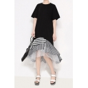 New Fashion Round Neck Short Sleeve Hybrid Panelled Striped Ruffles Chiffon Shift T-Shirt Asymmetrical Maxi Dress