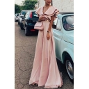 Womens New Trend V-Neck Ruffle Sleeves Webbing Tunic Pink A-Line Floor Length Maxi Dress