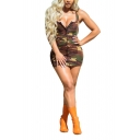 Womens Sexy Scoop Neck Sleeveless Camouflage Print Button Up Bodycon Tank Mini Dress