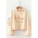 Maple Leaf Japanese Pattern  High Neck Lace Up Bow Tie Long Sleeve Khaki Casual Loose Sweatshirt