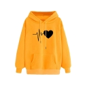 New Stylish Funny Cardiogram Love Heart Printed Long Sleeve Hoodie With Pocket