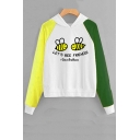LET'S BEE FRIENDS Save The Bees Letter Bee Printed Color Block Long Sleeve Hoodie