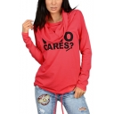 New Fashion WHO CARES Letter Print Long Sleeve Hoodie With Pockets