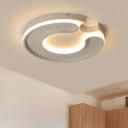 Modern Fashion C Shape Ceiling Light Silicon Gel LED Flush Light Fixture in White for Corridor