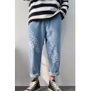 Guys New Fashion Letter Printed Straight Loose Fit Casual Jeans