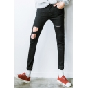 Men's New Stylish Simple Plain Black Slim Fit Cool Damage Knee Cut Ripped Jeans with Holes
