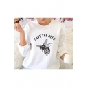 New Trendy Long Sleeve SAVE THE BEES Letter Bee Printed Loose Sweatshirt