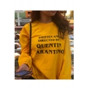 Womens Yellow Long Sleeve Written And Directed Letter Pullover Sweatshirt