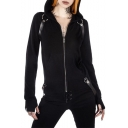 Girls Cool Unique Punk Style Black Long Sleeve Zip Front Straps Embellished Fitted Hoodie