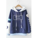 Navy ColorBlock Patch Miss You Letter Cartoon Heart Figure Print Pocket Long Sleeve Hoodie