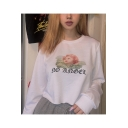 Stylish White Long Sleeve Round Neck Letter Cartoon Angel Baby Printed Pullover Cropped Sweatshirt