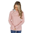 Womens Hot Trendy Long Sleeve Zip Embellished Straight Hoodie