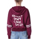 I Really Don't Care Do U Letter Printed Striped Long Sleeve Cropped Hoodie for Women