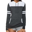 Hot Trendy Grey Striped Long Sleeve Colorblock Patch Simple Leisure Pullover Hoodie