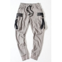Men's Trendy Ribbon Embellished Drawstring Waist Simple Plain Cotton Casual Sports Pants with Side Pockets