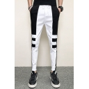 Men's New Stylish Colorblock Stripe Pattern Drawstring Waist Trendy Casual Slim Pencil Pants