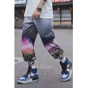 Unisex Street Trendy Ombre Color Letter CITY SKY Night View Printed Drawstring Waist Casual Loose Track Pants