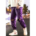 Guys Street Trendy Simple Plain Loose Fit Elastic Cuffs Casual Detachable Track Pants