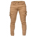 Men's Hot Fashion Pleated Patched Flap Pocket Side Simple Plain Casual Slim Cargo Pants