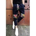 Men's Fashion Retro Printed Patched Drawstring Waist Navy Linen Casual Pants