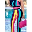 Hot Popular Halter Sleeveless Rainbow Color Striped Slim Fitted Jumpsuits