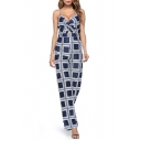 Classic Straps Sleeveless Cutout Check Printed Casual Loose Jumpsuits