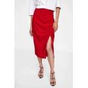 Summer Classic Red Drawstring Side Slit Side Zipper Side Midi Straight Skirt
