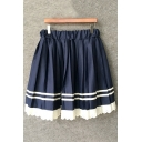 Navy Elastic Waist Striped Print Patch Lace Hem Mini Pleated Skirt